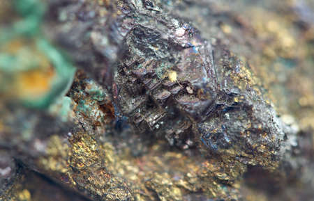 Chalcocite, copper(I) sulfide (Cu2S), is an important copper ore mineral. It is opaque and dark-gray to black with a metallic. It is a sulfide with an orthorhombic crystal system. Macro.