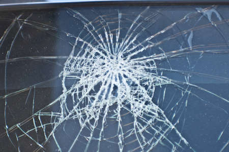 multilayered: Front window the car crashed. Broken Glass. Automobile incident. Conceptual photo - danger Stock Photo