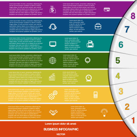 variant: Vector illustration infographic for success business project and other Your variant template with text areas on eight positions, 8 colour strips and semicircle