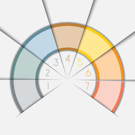 semicircle: Color Semicircle for infographic, illustration template with text areas on seven positions