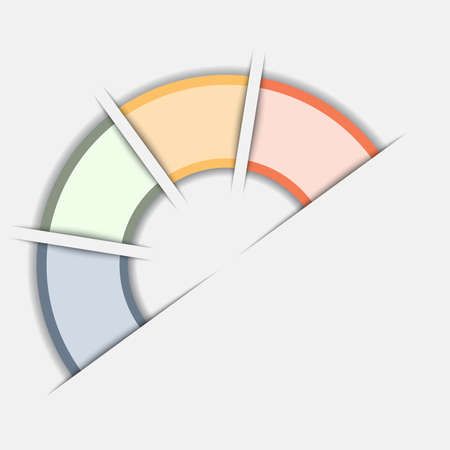 semicircle: Color Semicircle for infographic, illustration template with text areas on 4 positions