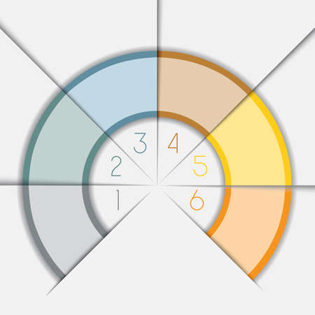 semicircle: Color Semicircle for infographic, illustration template with text areas on six positions