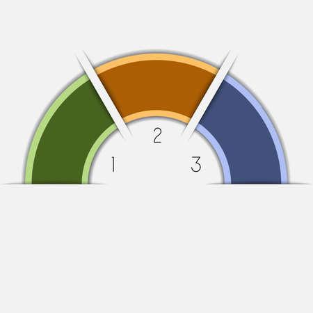 Kleur halve cirkel voor infographic sjabloon met tekst gebieden op 3 standen