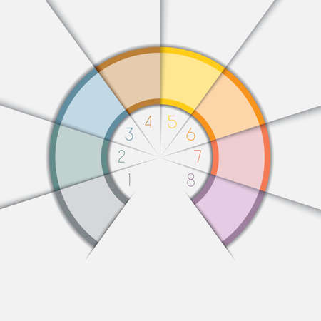 semicircle: Color Semicircle for infographic, illustration template with text areas on eight positions Stock Photo