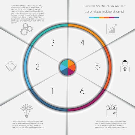 flyer layout: Infographic business process or workflow template with text areas on 6 positions Illustration
