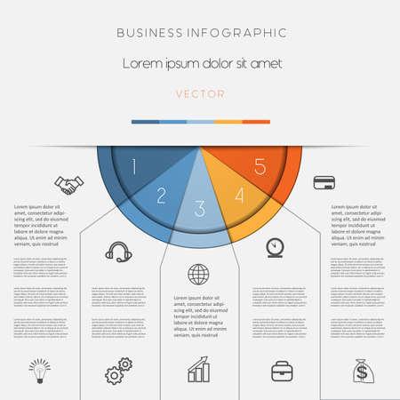 Infographic, kleur halve cirkel voor sjabloon met tekst gebieden op vijf posities