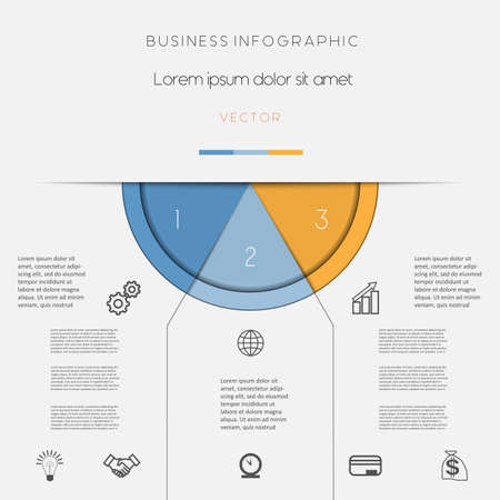 semicircle: Infographic, color semicircle for template with text areas on three positions