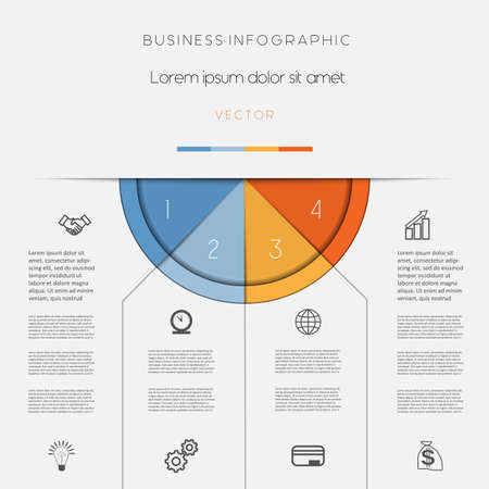 presentation background: Infographic, color semicircle for template with text areas on four positions