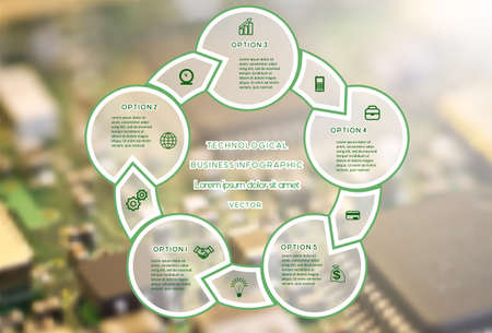 Technological business Infographic Cyclic process With Text Areas On five Positions. Macro