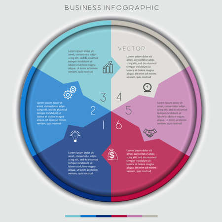 technological: Multi-coloured Circle Numbered, Six Options, For Infographic, Diagramme, Technological Process, Business Concept, Or Other Successful Step-By-Step Representation