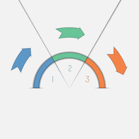 semicircle: Infographic template with text areas on threer positions colour arrows and semicircle
