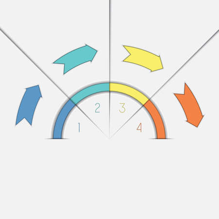 semicircle: Infographic template with text areas on four positions colour arrows and semicircle Stock Photo