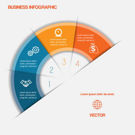 semicircle: Business infographic semicircle with text areas on four positions