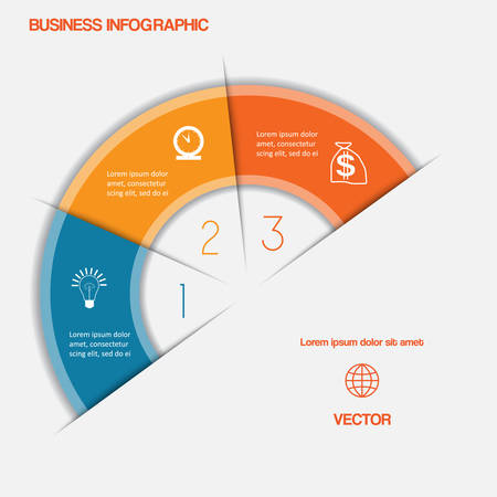 semicircle: Business infographic semicircle with text areas on three positions Illustration