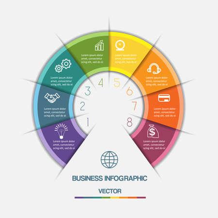 Infographic Color Halve cirkel sjabloon met tekst gebieden op acht posities Stock Illustratie