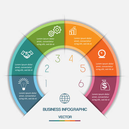 visual information: Infographic Color Semicircle template with text areas on six positions