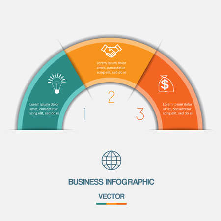 information design: Infographic Color Semicircle template with text areas on three positions