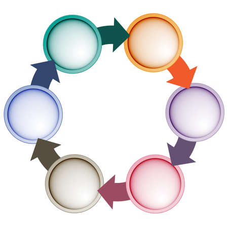 project management: Infographic Cyclic Process With Text Areas On Six Positions Stock Photo