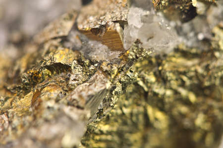 pyrite: Golden pyrite, fools gold, is an iron sulfide chemical formula FeS2. Macro