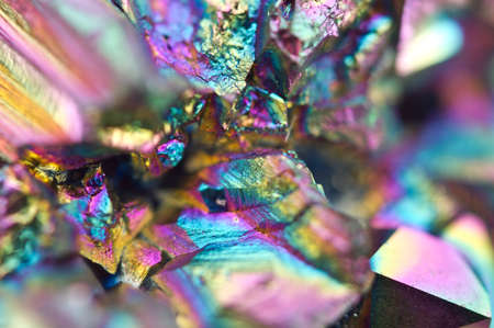 Fantastic multi-coloured background from thin layer of the titan on a quartz surface Macro, for successful business projects and other Your variant