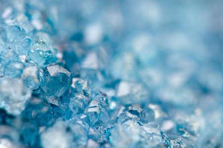 Druse blauwe kristallen Agaat SiO2 siliciumdioxide. macro