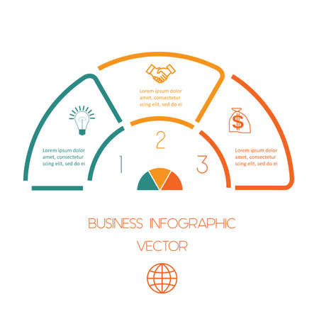 Infographic Semicircle template from colourful lines with text areas on three positions