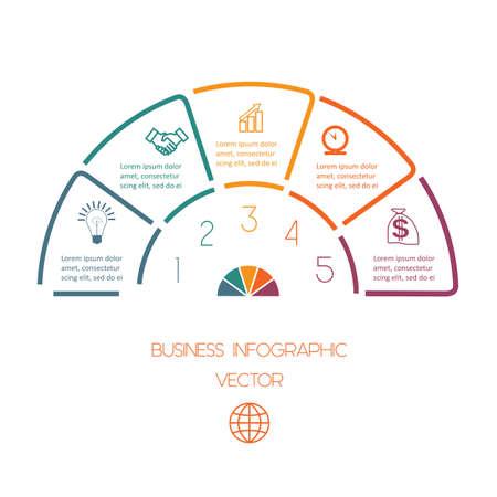 Infographic Halve cirkel sjabloon uit kleurrijke lijnen met tekst gebieden op vijf posities