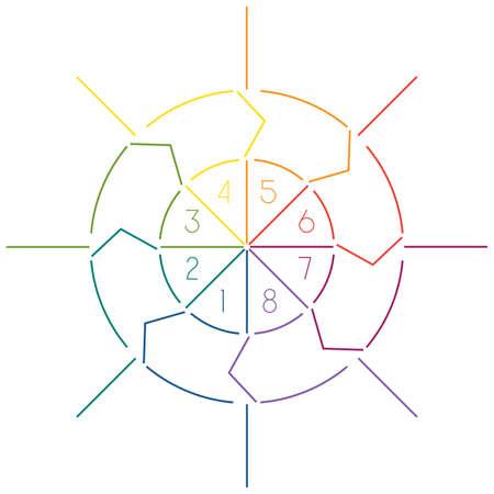 cicla: plantilla círculo infografía de las líneas de colores con áreas de texto