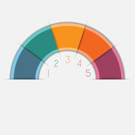 semicircle: Infographic Color Semicircle template with text areas