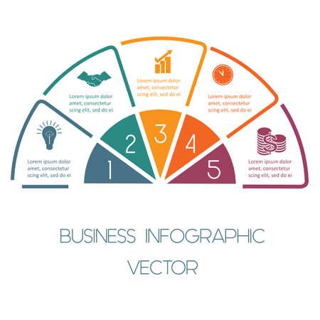 Infographic Halve cirkel sjabloon kleurrijke lijnen met tekst gebieden op vijf posities Stock Illustratie