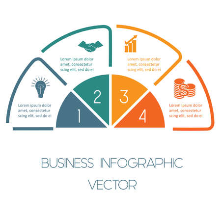 Infographic Semicircle template colourful lines with text areas on four positions Vettoriali