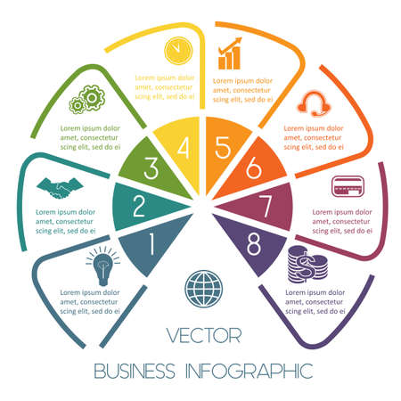 Infographic Semicircle template colourful lines with text areas on eight positions