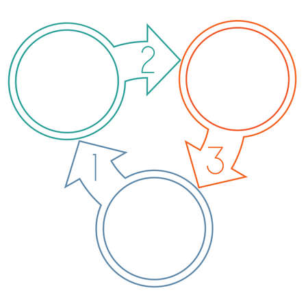 Circles with arrow from colourful lines with text areas on three positions