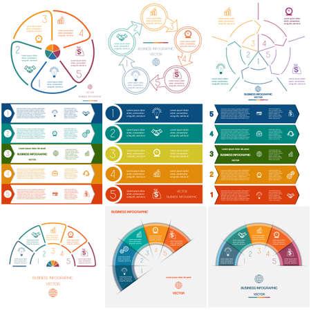 Set sjablonen Infographics voor conceptueel cyclische processen op vijf posities Stock Illustratie