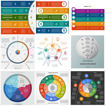Set templates Infographics for business conceptual cyclic processes on five positions