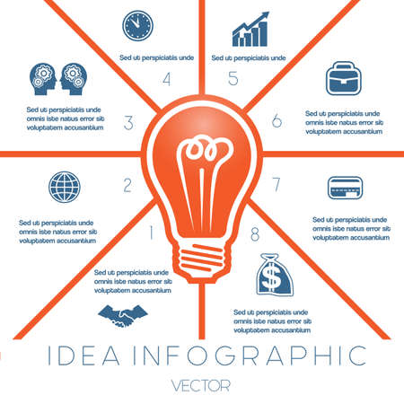 energy efficient light bulb: Light bulb infographics template on eight positions possible to use for workflow, banner, diagram, web design, timeline, area chart Illustration