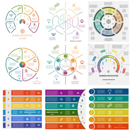 six: Set 9 templates Infographics for business conceptual cyclic processes on six positions possible to use for workflow, banner, diagram, web design, timeline, area chart Illustration