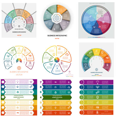 Set 9 templates. Infographics for business conceptual cyclic processes on seven positions possible to use for workflow, banner, diagram, web design, timeline, area chart