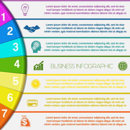 Infographics strips and colorful semicircle for business conceptual cyclic processes on seven positions possible to use for workflow, banner, diagram, web design, timeline, area chart