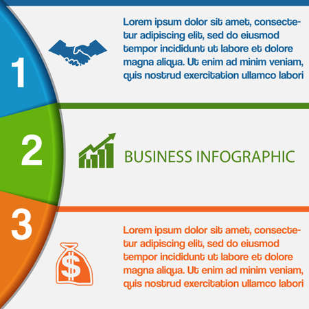 semicircle: Infographics strips and colorful semicircle for business conceptual cyclic processes on three positions possible to use for workflow, banner, diagram, web design, timeline, area chart