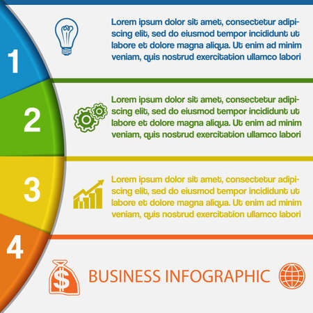 Infographics strips and colorful semicircle for business conceptual cyclic processes on four positions possible to use for workflow, banner, diagram, web design, timeline, area chart