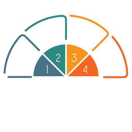 semicircle: Infographic Semicircle template colourful lines with text areas on 4 positions