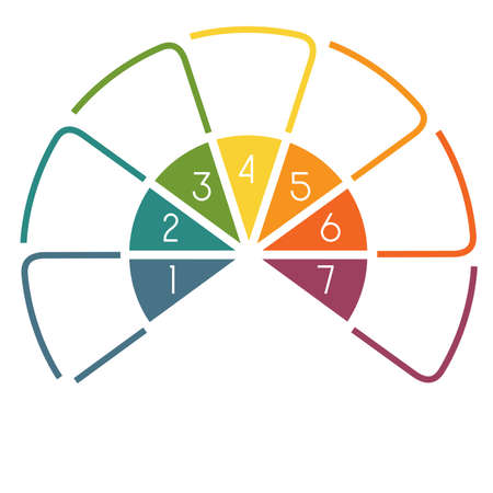 semicircle: Infographic Semicircle template colourful lines with text areas on 7 positions Stock Photo