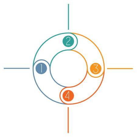 cicla: anillo multicolor contados Infografía ejecución cíclica de las líneas de colores con áreas de texto en 4 posiciones