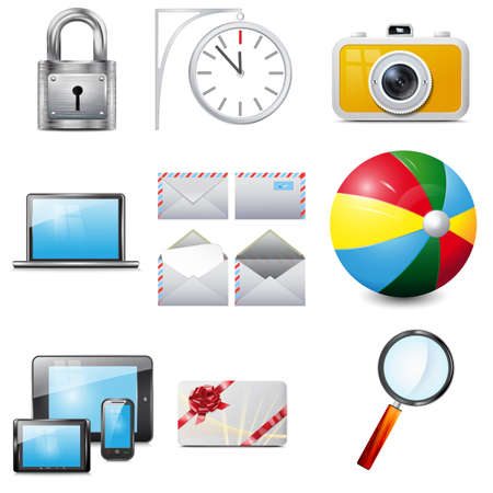 portability: Set 14 vector realistic icons,  camera,  laptop, mobile phone,  tablet, magnifying glass, colorful  ball, metallic padlock,  envelope, clock, gift card