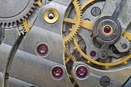 Metal Cogwheels in Old Clockwork, Macro. Concept Teamwork , Idea Technology Stock Photo