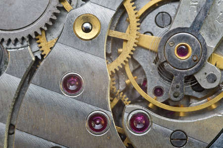 Metalen Tandwielen in Old Clockwork, Macro. Concept Teamwerk, Idee Technology