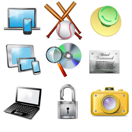 plate camera: Set 9 vector realistic icons, camera, laptop, mobile phone, tablet, magnifying glass, disk, metallic padlock, baseball bat, metallic plate, button