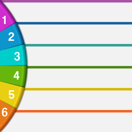 semicircle: Infographics strips and colorful semicircle for business conceptual cyclic processes 6 positions Stock Photo