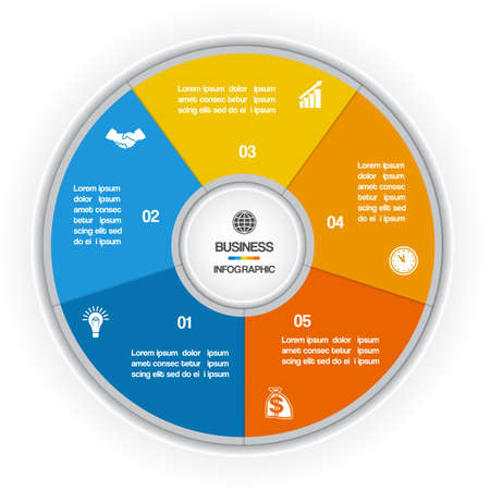 information design: Colorful Ring for cyclic process on five positions possible to use for workflow, banner, diagram, web design, timeline, area chart Illustration